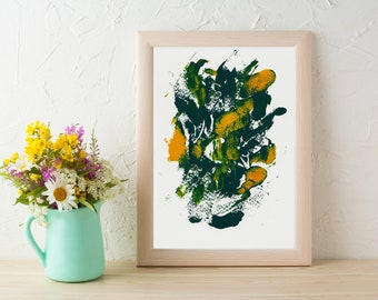 5x7 Abstract Print/Yellow and Green Art/Green Home Decor/Monotype