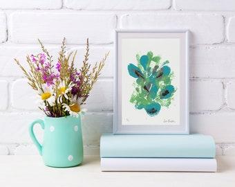 5x7 Abstract Artwork/Green Blue Wall Art/Home Decor/Monoprint