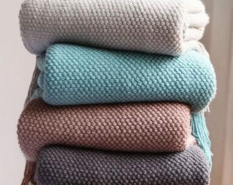 Soft Nordic Knitted Blanket Sofa Throw Travel Blanket Knitted Fringed Sofa Blanket Tassel Bed Throw Light Grey, Dark Grey, Pink, Blue 2 Size