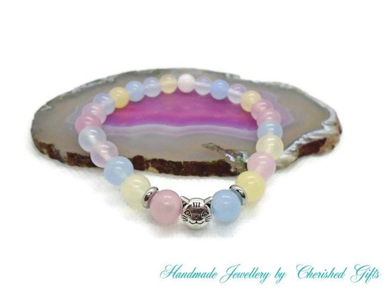 Stretch Multicolour Morganite Round Beads with Tibetan Style Antique Silver Cat Charm /& Spacer Bracelet