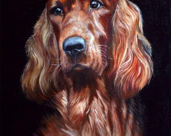 Irish Setter portrait! Pet portrait, dog portrait, seter portrait, hand painted art, dog, setter, art