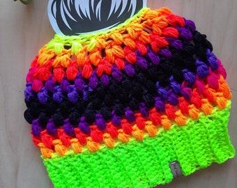 Neon Rainbow Messy Bun Beanie