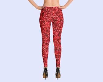 glamorous red digitally printed pocket yoga style pink stylish brushed Rose Gold Glitter leggings buttery soft trendy