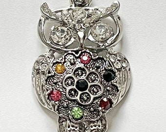 Interchangeable w Ginger Snaps Burnished Silver Owl on Branch Snap Charm