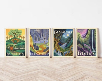 Travel Illustration Decor Poster,Lord of the Rings Poster,The Shire,Mordor,Rivendell,Rohan Illustration,Travel Poster,Style Modern Poster H
