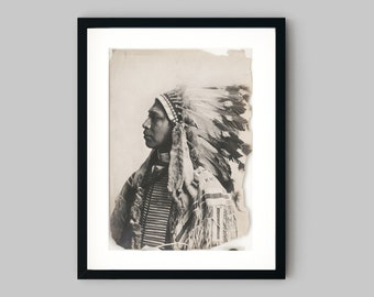 Photograph shows a Klickitat Indian man portrait wearing a feather headdress Black and White Photography Fine Art Print - Wall Decor