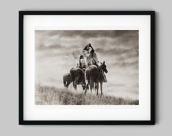 Native American Cheyenne Warriors on Horseback on the Plains Photograph Fine Art Black and White Print - Wall Decor