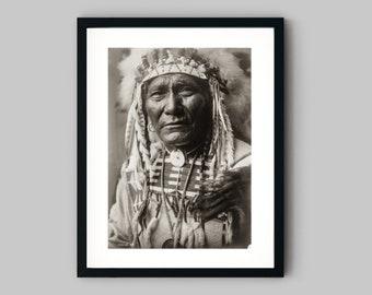 Native American Crow Chief in full headdress portrait Photograph Fine Art Black and White Print - Wall Decor