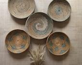 Set Of 5 Basket Decor,African Wall Baskets,Wall Basket Hanging,Wicker round bowl, Wicker wall tray, Bohemian wall decor, Wicker basket