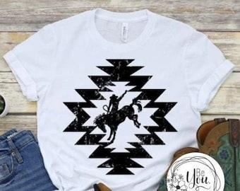 Aztec womans  tshirt, bucking bronco, aztec pattern t-shirt, cowgirl shirt, bucking horse, western aztec, cusomized tee, western design