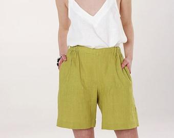 HANNA Linen Woman Shorts Long Comfortable Summer Feminine Elegant Elastic Waist
