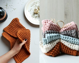Set Of 4,6,8,10 Waffle dish cloth set. Natural linen dish cloths. Linen kitchen cloth. New home. Eco friendly kitchen. Sustainable kitchen.