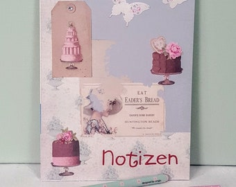 Notepad with Tilda design paper, beautiful tildastil writing pad, with lace strap