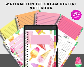 Digital Notebook Perfect For Students and Watermelon Ice Cream Lovers