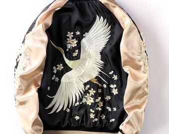 New Mens Japanese Embroidered Sukajan Souvenir Jacket Bomber Vermilion Bird Coat