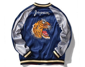 Fuji Sea Tiger Japanese and Flower Harajuku Embroidered Sukajan Souvenir Bomber PU Jacket for Unisex