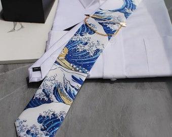 Fuji Sea Great Wave Kanagawa Katsushika Hokusai Japanese Mount Fuji Ukiyo-e Neck Tie