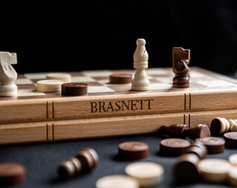 Personalised Wooden Chess and Draughts/Checkers Set