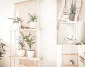 Multi tier plant stand, macrame shell plant shelf, macrame wall hanging shelf, hanging shelf for plants, hanging plant shelves, shelves