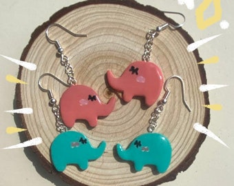 Adorable Miniature Silver Polymer Clay Baby Elephant Dangly Earrings