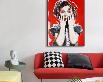 Lilac Hamami  art special large/small print on canvas,portrait, Shirley Temple portrait cinema girl ,Contemporary ART Unframed/Not stretched