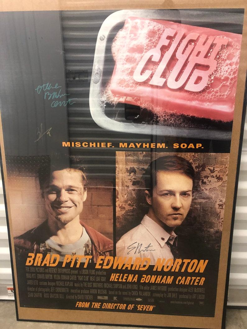 Original Fight Club 1996 movie poster signed by Brad Pitt Helena Bonham Carter Edward Norton