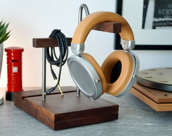 Modern Headphone Stand with Play and Display for Album or Tablet - Walnut (new)