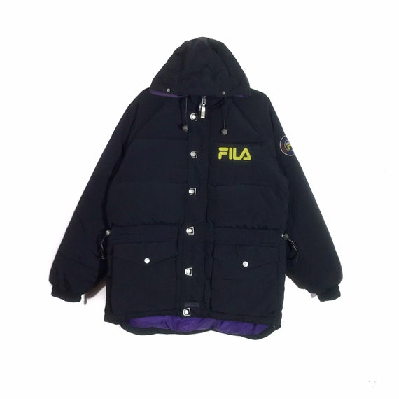 Vintage 90s Black Fila Embroidered Spellout Zipper