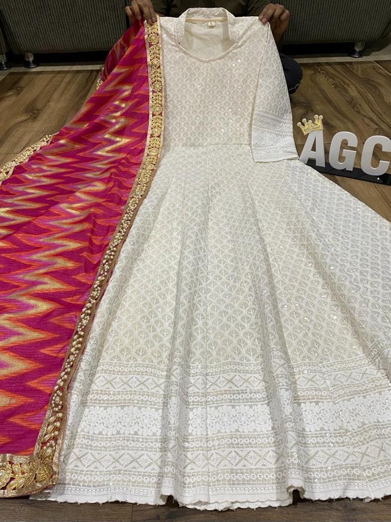 Pakistani suit White Anarkali dress Heavy work Anarkali dress Beautiful heavy chikankari anarkali dress with dupatta party wear dress