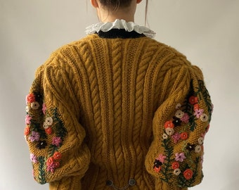 RESERVED for Ada Mustard yellow unique  Amazing Green Vintage Cardigan with Colourful Flowers Embroidered Knitted Jacket Handmade Embroidery