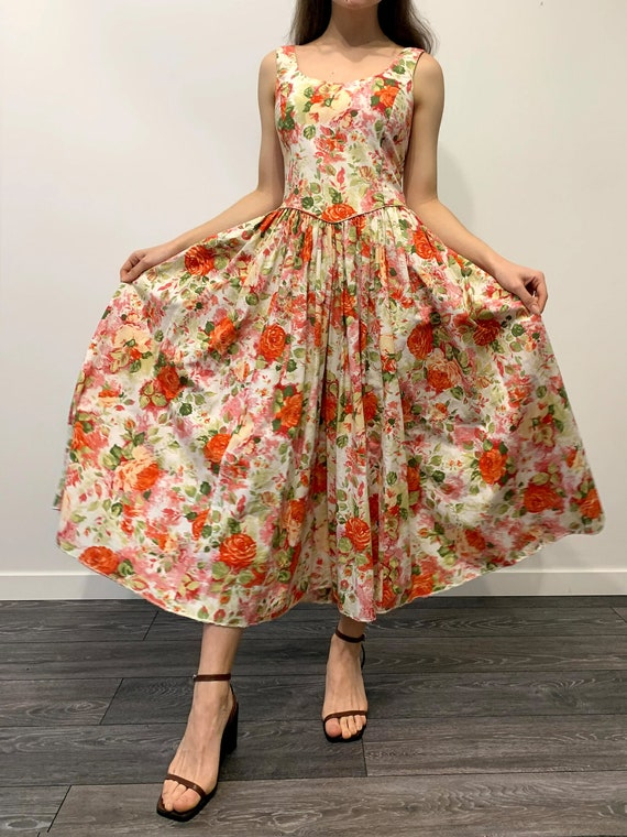 Laura Ashley vintage peach orange princess dress,