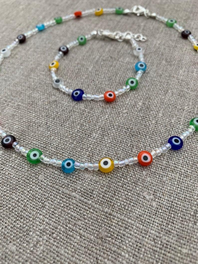 Multicolour Evil Eye Necklace Evil Eye Jewellery Beaded Jewellery