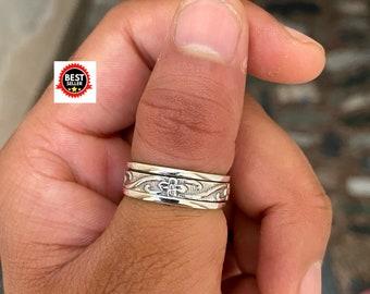 Solid 925 Sterling Silver Spinner Ring Meditation Ring Statement Ring AJ549