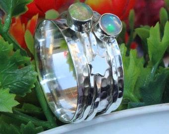 Solid 925 Sterling Silver Spinner Ring Meditation Ring Statement Ring Size sr587