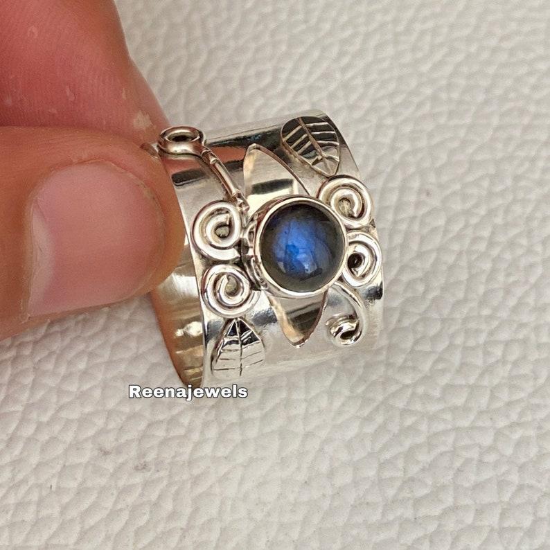 Blue Labradorite Gemstone Ring*925 Sterling Silver Band Ring*Band Ring*Handmade Ring*Statement *Gift Her*Women Ring*Men Ring*Free Shipping