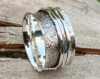 925 Sterling Silver Spinner Ring*Handmade Ring*Statement Ring*Gift Her*Women Ring*Free Shipping Ring*Meditation Ring*Spinner Ring*Thumb Ring