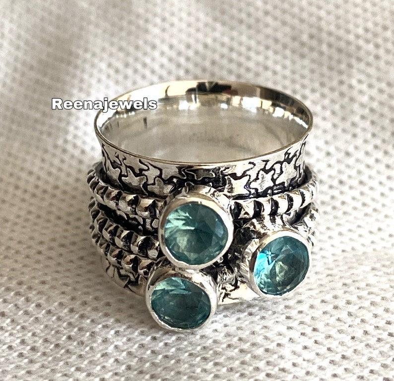 Free Shipping Women Ring Blue Topaz Ring Meditation Gift Her Handmade Ring 925 Sterling Silver Spinner Ring Statement Ring Thumb