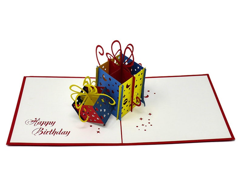 Blue Navy And Red Birthday Gifts In Yellow