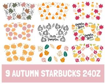 9 Autumn Starbucks Cup SVG, Fall Season Starbucks Svg, Starbucks Cups Wrap For Cricut, Autumn Starbucks Svg, Halloween Starbucks Svg,pumpkin