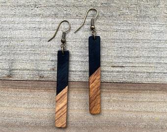 """Matte Black & Wood """"Longies"""" Bohemian Earrings"""