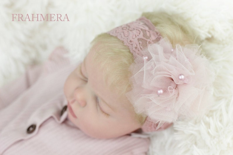 Baby Lace Headband Matching Lace Elastic Band Toddler Headband Pearl Tulle Pom Pom Lace Headband Pearl Accent