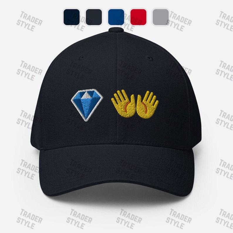 Diamond Hands Emoji Baseball Cap memes stock market trading trader gift embroidery dad hat