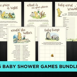 Winnie the Pooh Baby Shower Games Printable Bundle Baby Bingo Word Scramble Bingo The Price is Right Instant Download Digital