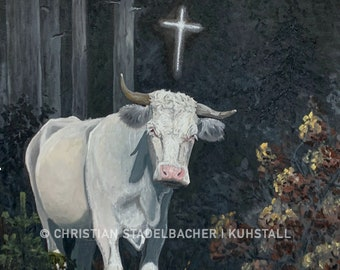 """Cow 21.10   Art print   """"Huberta"""" painting by C. Stadelbacher   Artists' Gallery   back certificate with signature"""