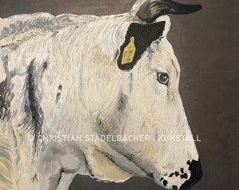 """Cow 21.13   Art print   """"Kuh vom Heiss"""" painting by C. Stadelbacher   back certificate with signature"""