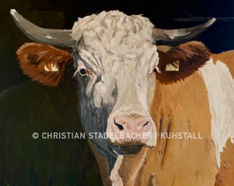 Cow 21.1   Art print   Painting by C. Stadelbacher   Artists' Gallery    back certificate with signature