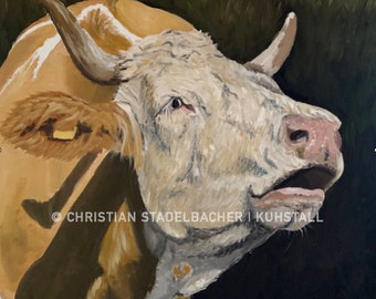 Cow 21.4   Art print   Painting by C. Stadelbacher   Artists' Gallery   back certificate with signature