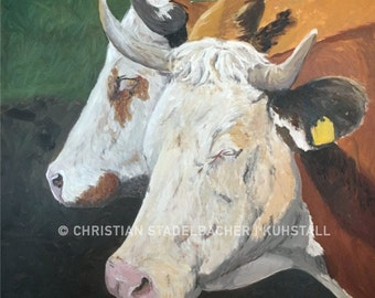 Cows 21.2   Art print   Painting by C. Stadelbacher   Artists' Gallery    back certificate with signature