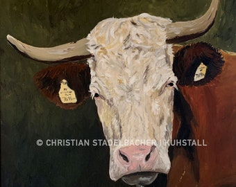 Cow 21.3   Art print   Painting by C. Stadelbacher   Artists' Gallery   back certificate with signature
