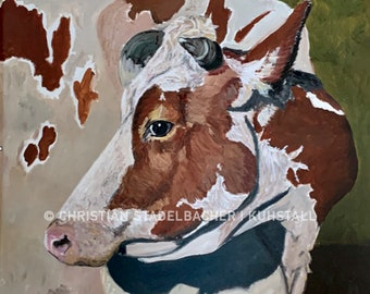 """Cow 21.14   Art print   """"Alma"""" painting by C. Stadelbacher   Artists' Gallery   back certificate with signature"""